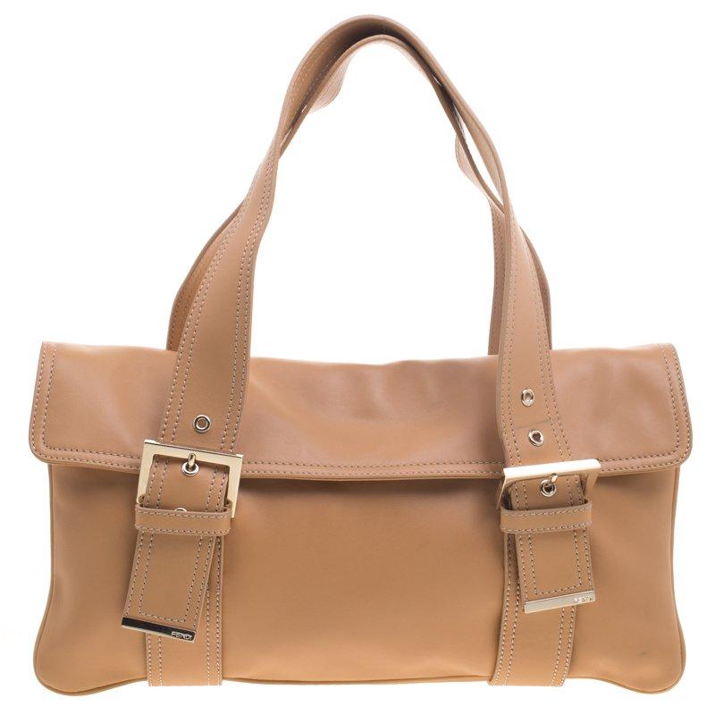 Fendi Tan Leather Flap Tote