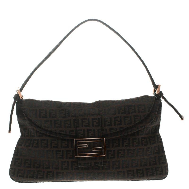 235e03f1f3 Fendi Dark Brown Zucchino Canvas Baguette Shoulder Bag