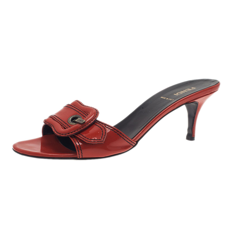 Fendi Red Leather B Buckle Slides Size 38