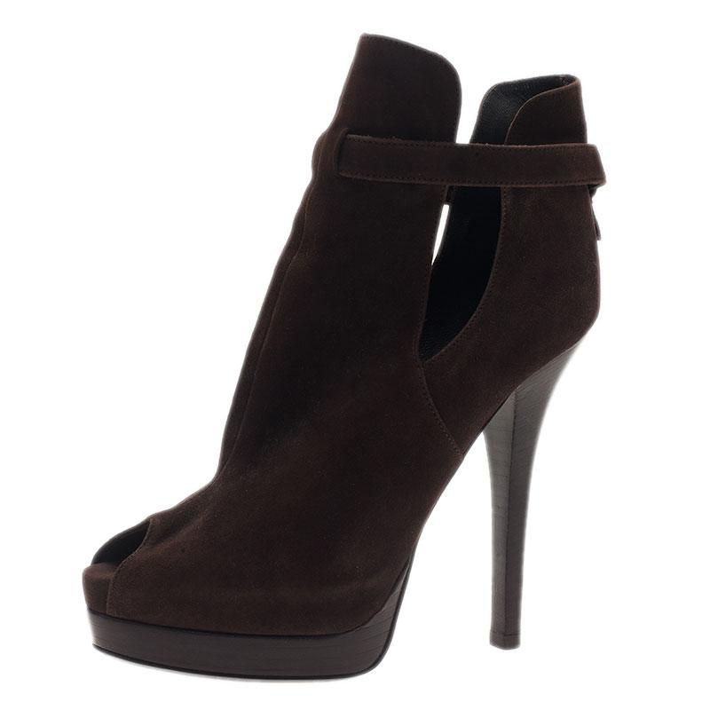 Fendi Brown Suede Peep Toe Platform Ankle Boots Size 38