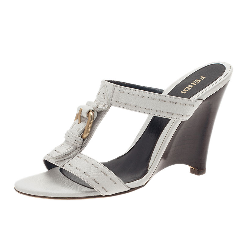 Fendi White Leather Buckle Slides Size 37.5