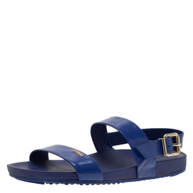 f1e3779fdc7 Buy Fendi Blue Patent Double Banded Flat Sandals Size 40 54353 at ...