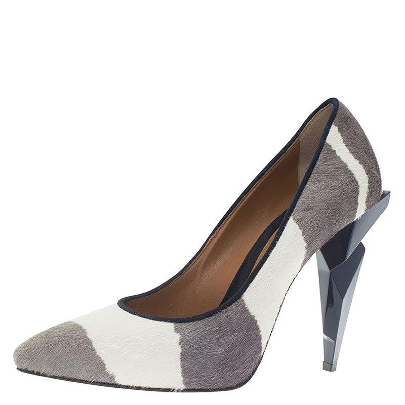 Fendi Grey and White Hair On Zebra Print Diamond Heel Pumps Size 39