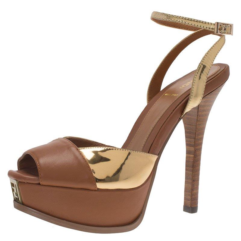 87a0b2a89759 ... Fendi Brown and Gold Leather Platform Ankle Strap Sandals Size 39.  nextprev. prevnext