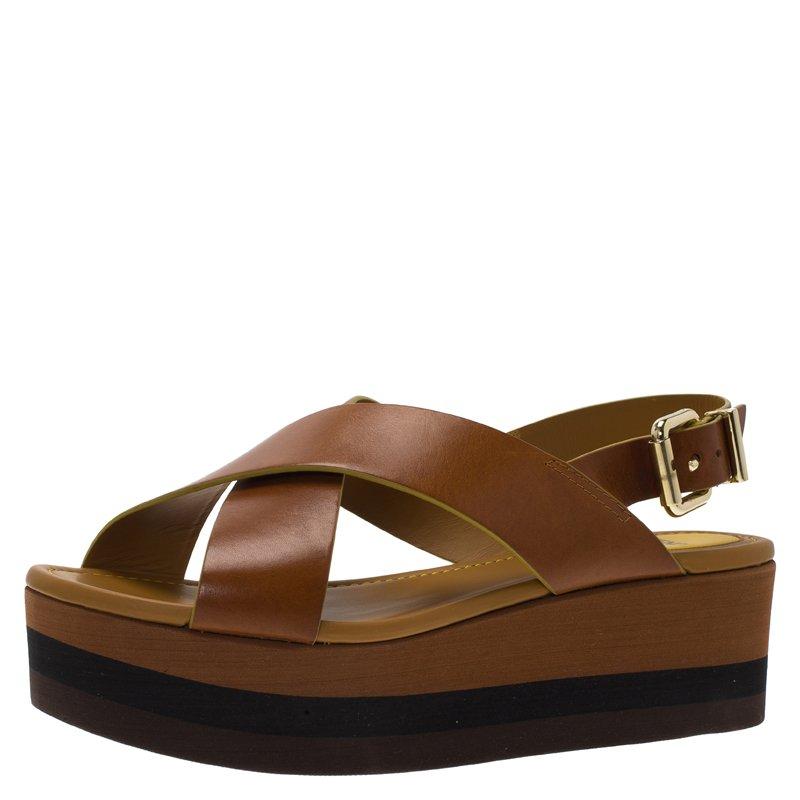 c67dde48a07c Buy Fendi Brown Leather Claire Crisscross Platform Sandals Size 38.5 ...