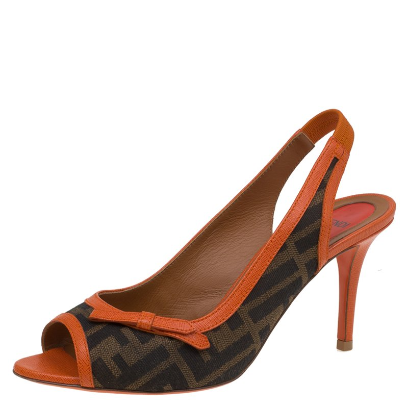 903640d48 Buy Fendi Brown Zucca Canvas and Orange Leather Bow Slingback ...