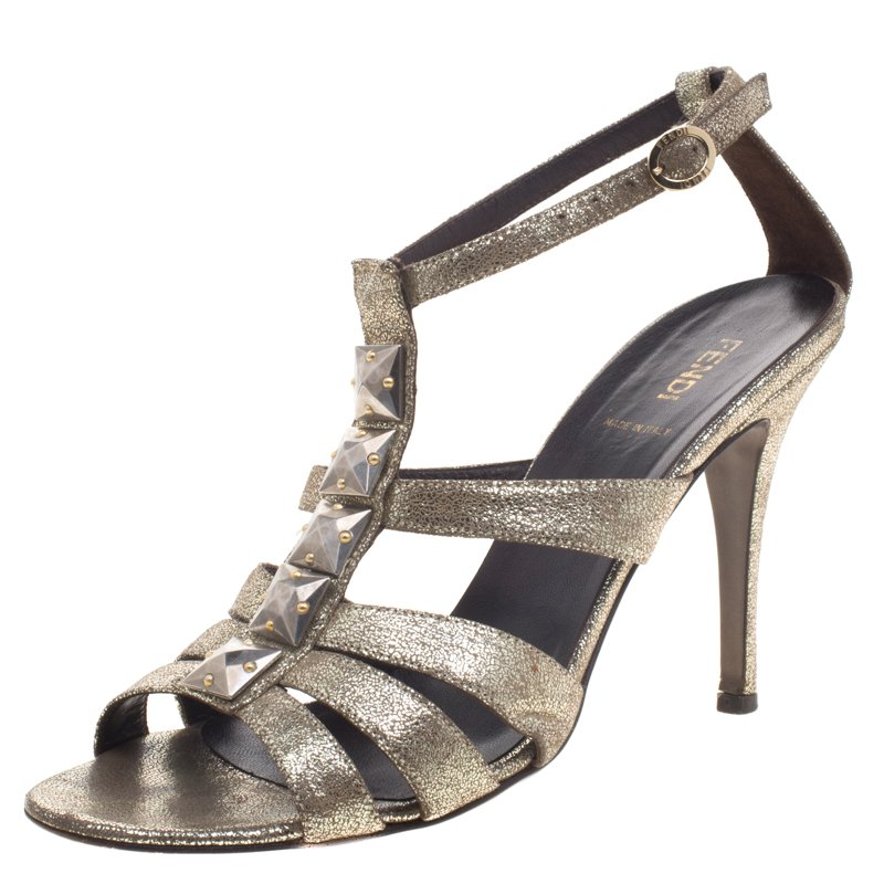 bdd188e5136 ... Iridescent Leather Silver Studded Ankle Strap Sandals Size 39.5.  nextprev. prevnext