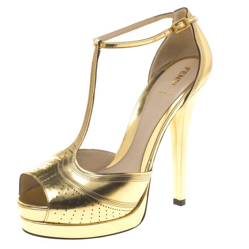 d8bfcaeb9da9 ... Fendi Gold Metallic Perforated Leather T Strap Platform Sandals Size  41. nextprev. prevnext