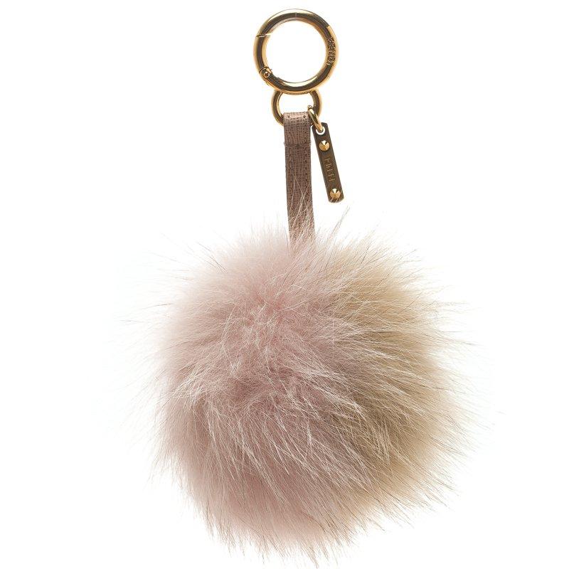 5640d09ae47b Buy Fendi Beige Pink Fox Fur Pom Pom Bag Charm 106690 at best price ...