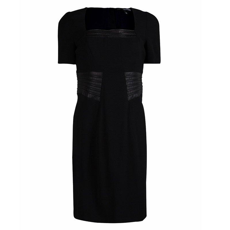 Gianfranco Ferre Black Leather Panel Short Sleeve Wool Dress M