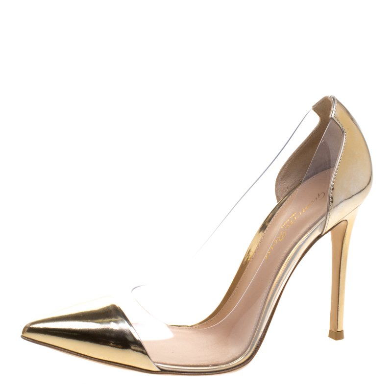 2a431bf5696 Buy Gianvito Rossi Metallic Gold Leather and PVC Plexi Pumps Size ...