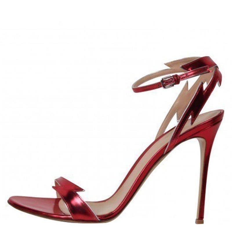 Gianvito Rossi Red Metallic Leather