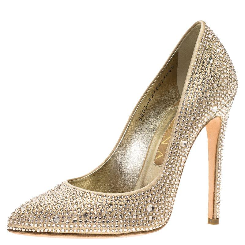 Buy Gina Gold Satin Swarovski Crystal Embellished Alfie Pumps Size ... 8c581fdcf