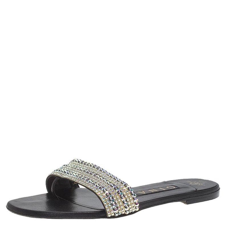 Gina Black Leather Embellished Flat Sandals Size 37.5