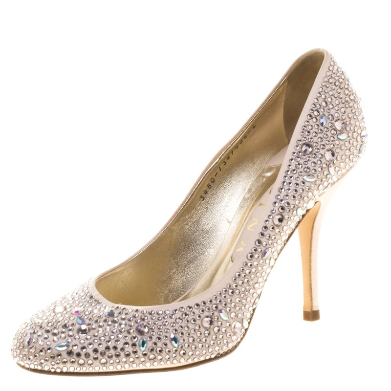 93e9808715b6 Buy Gina Blush Pink Crystal Embellished Satin Pumps Size 39 96767 at ...