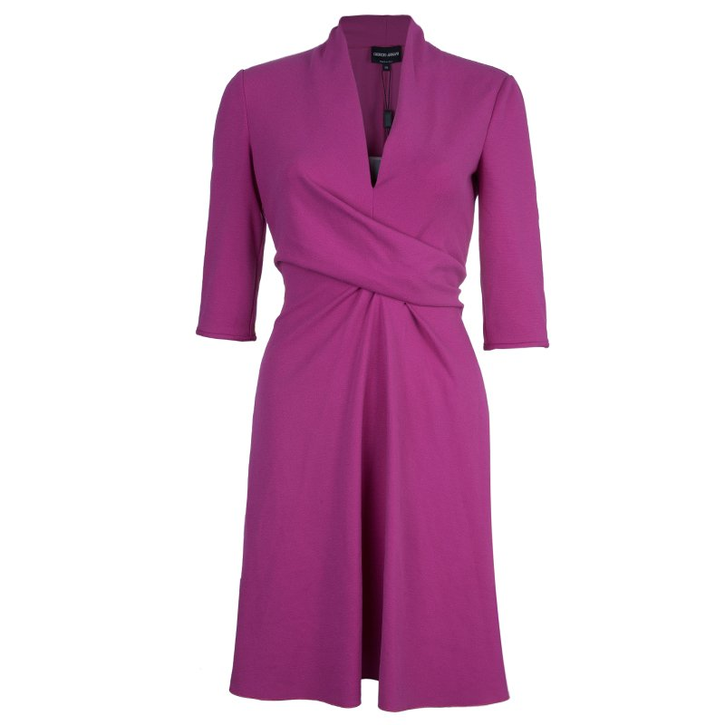 Giorgio Armani Milano Faux Wrap Jersey Hot Pink Dress S