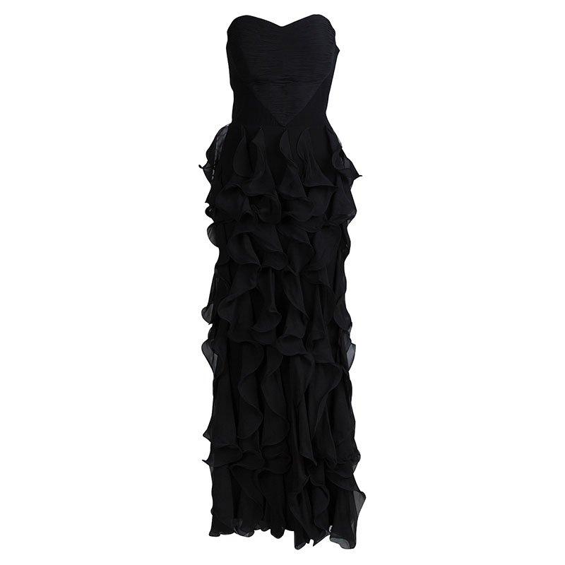 62905bdd6f7 ... Black Silk Ruffle Detail Strapless Maxi Dress M. nextprev. prevnext