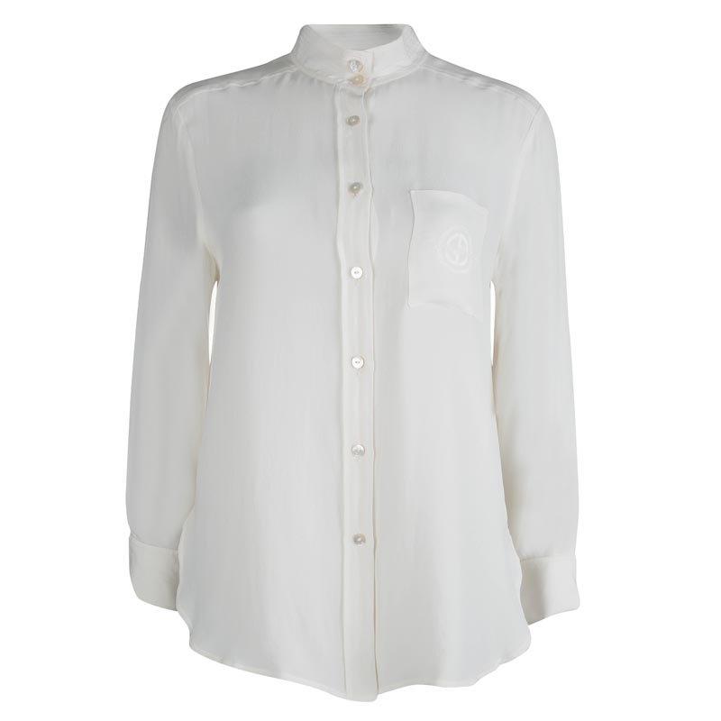 Giorgio Armani Off White Button Down Long Sleeve Shirt M