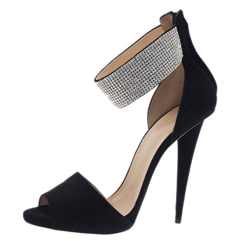 d77a5bca1bc ... Giuseppe Zanotti Black Crystal Embellished Suede Ankle Strap Sandals  Size 41. nextprev. prevnext