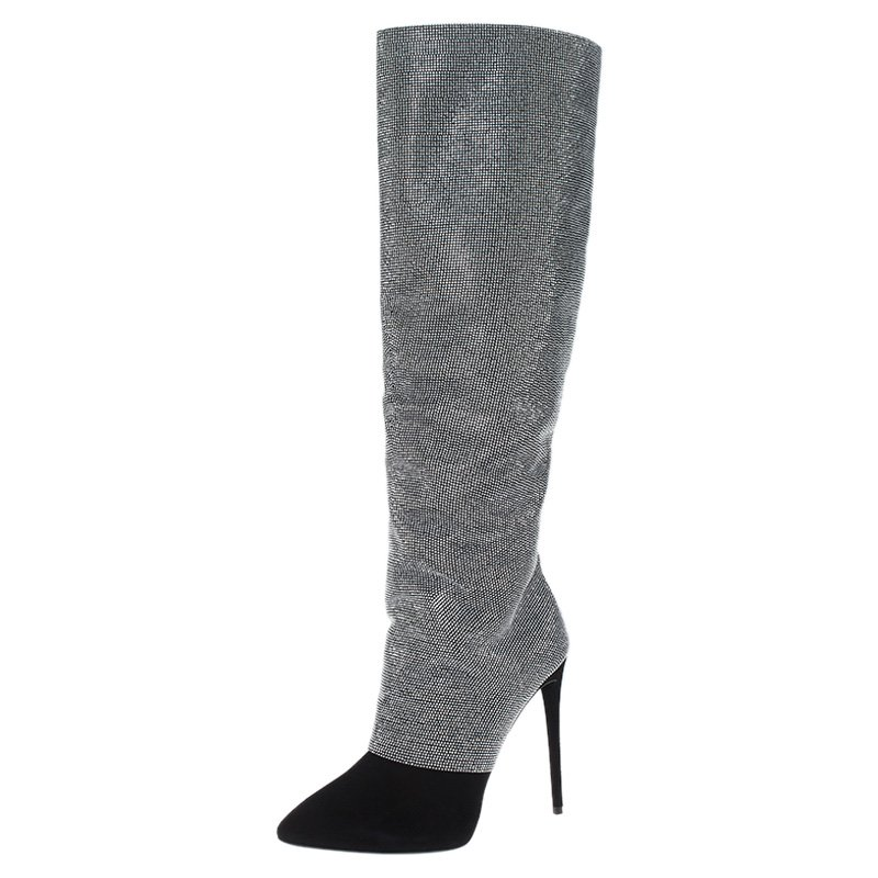 Giuseppe Zanotti Black and Silver Embellished Suede Knee Boots Size 38.5