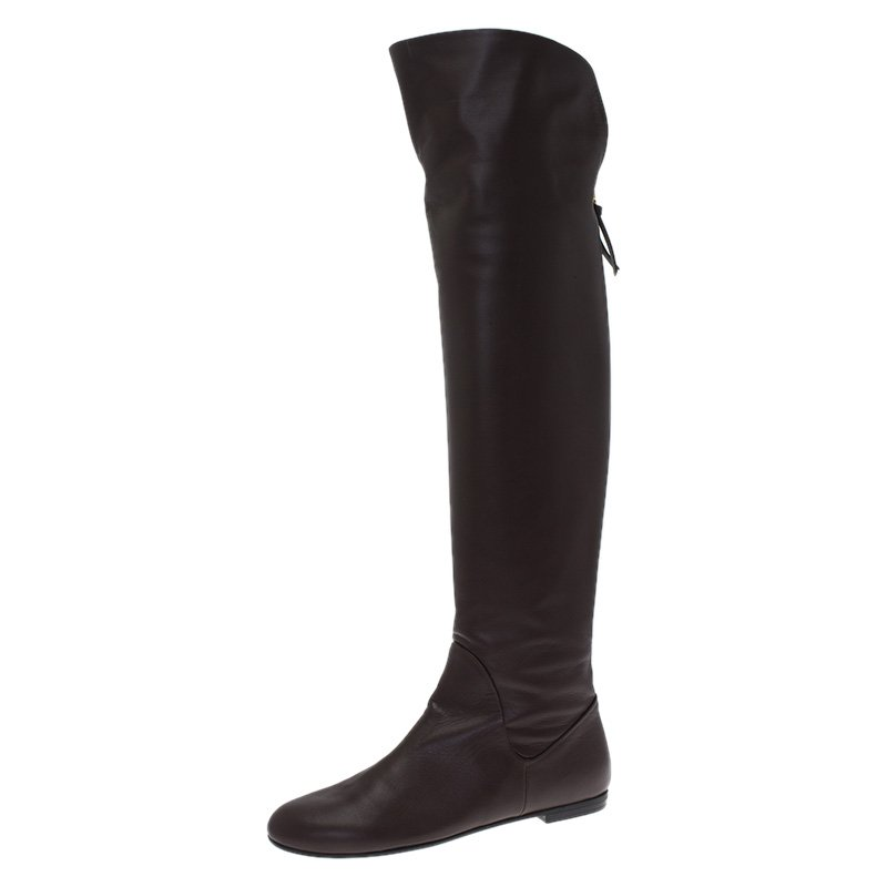 Giuseppe Zanotti Brown Leather Flat Over the Knee Boots Size 41