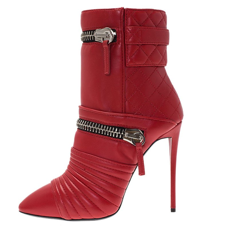Giuseppe Zanotti Red Quilted Leather