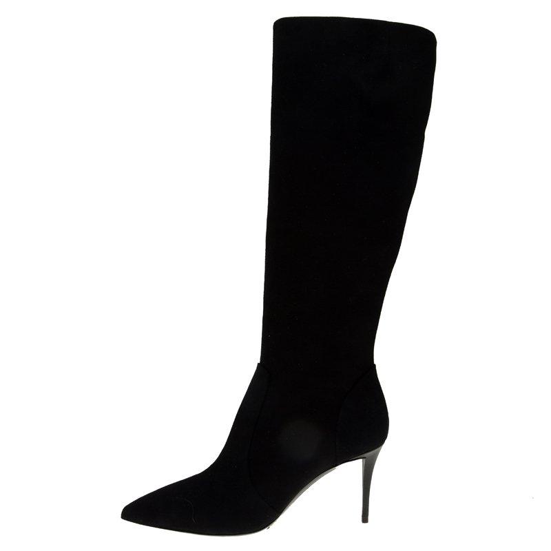 Giuseppe Zanotti Black Suede Knee Boots Size 38