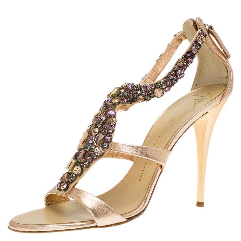 de38107132c1 ... Giuseppe Zanotti Metallic Bronze Leather Jewel Embellished Sandals Size  41. nextprev. prevnext