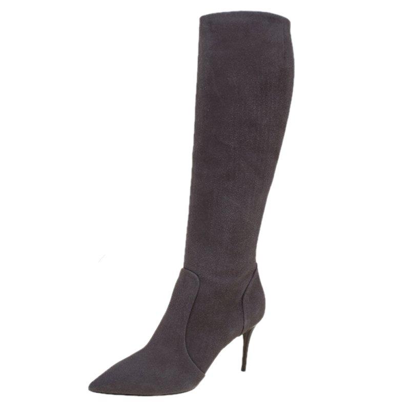 0cb1978a37b ... Giuseppe Zanotti Beige Suede Pointed Toe Knee Boots Size 38. nextprev.  prevnext