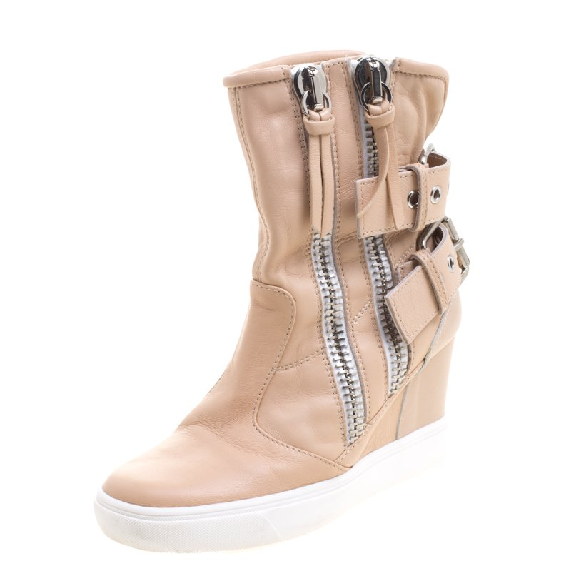 ca9bd9def9f9 ... Giuseppe Zanotti Beige Leather Buckled Double Zip Accent Wedge Sneakers  Size 36. nextprev. prevnext