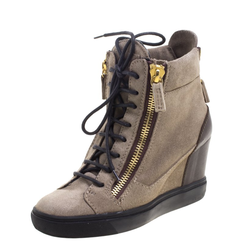 matching in colour cheapest top-rated discount Giuseppe Zanotti Brown Suede and Leather Hidden Wedge Sneakers Size 36