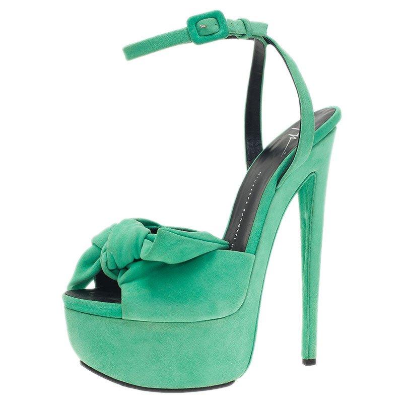 5dfde1ec450 ... Giuseppe Zanotti Green Suede Bow Ankle Strap Platform Sandals Size 40.  nextprev. prevnext