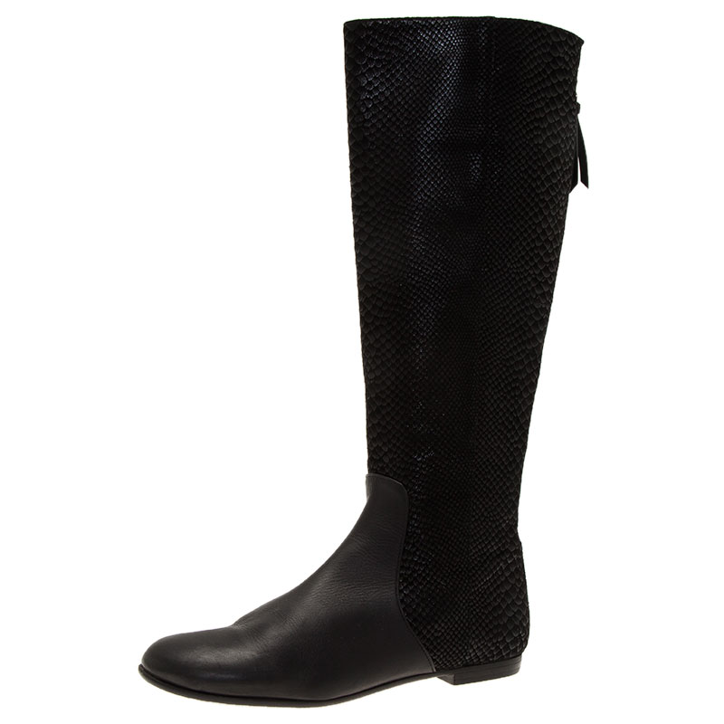 ... Giuseppe Zanotti Black Embossed Leather Tall Boots Size 37.5. nextprev.  prevnext a7fea80d82