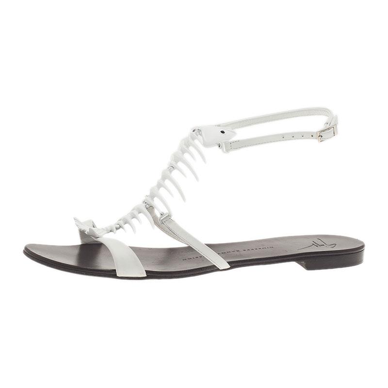7bf8f05202ad5 Buy Giuseppe Zanotti White Fishbone Flat Sandals Size 38 46 at best ...