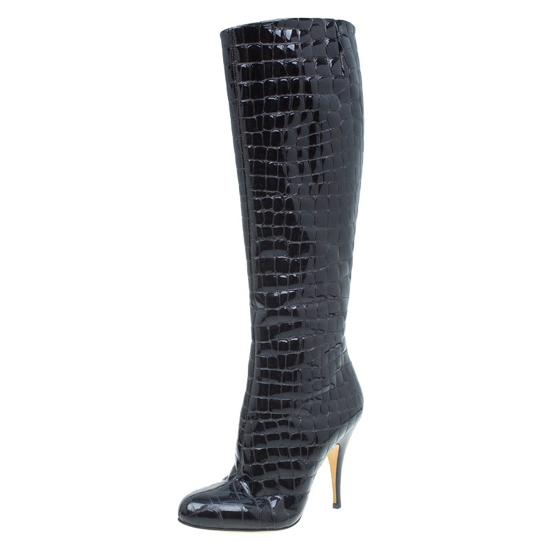 6e91a60ac29 Giuseppe Zanotti Dark Brown Patent Croc Embossed Over Knee Boots Size 38