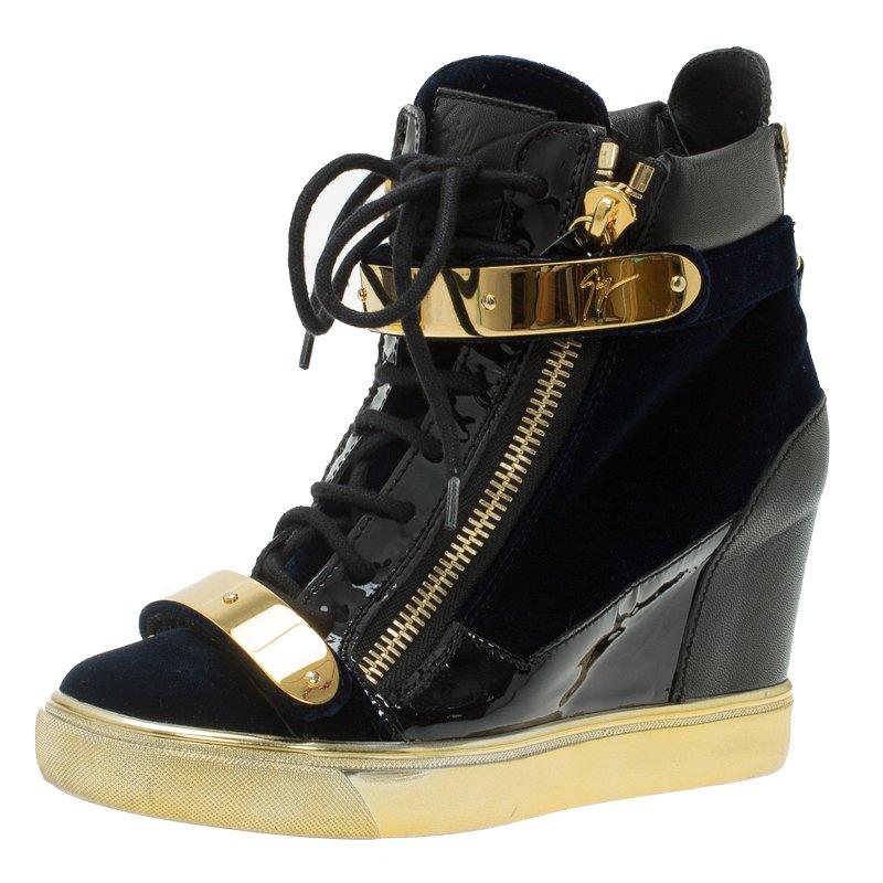 8892b82a3d2d ... Giuseppe Zanotti Black Leather and Blue Velvet Coby Wedge Sneakers Size  38.5. nextprev. prevnext