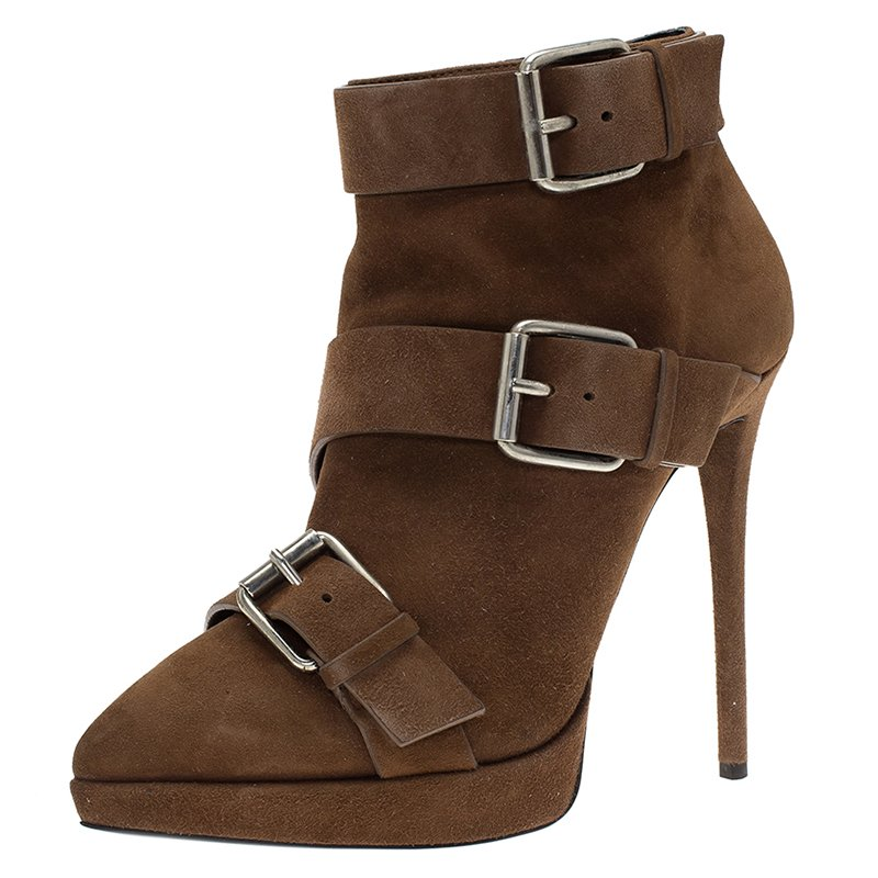 5c2a64ca26d Buy Giuseppe Zanotti Brown Buckled Suede Emy Platform Ankle Boots ...