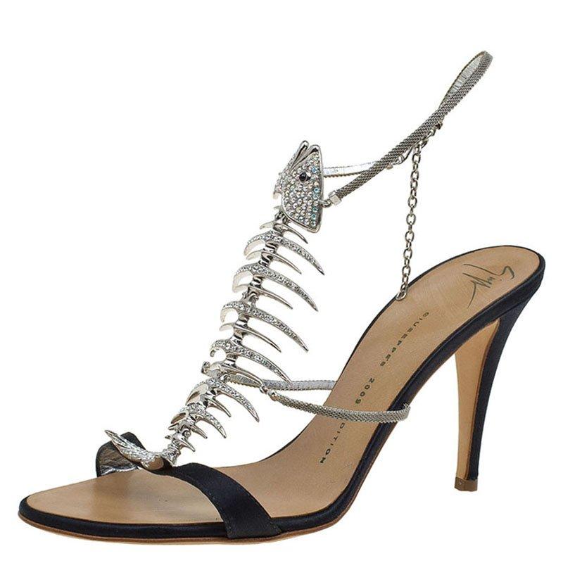 9f1fa7e3f415d ... Giuseppe Zanotti Black Satin Crystal Encrusted Fish Bone Embellished  Sandals Size 38. nextprev. prevnext