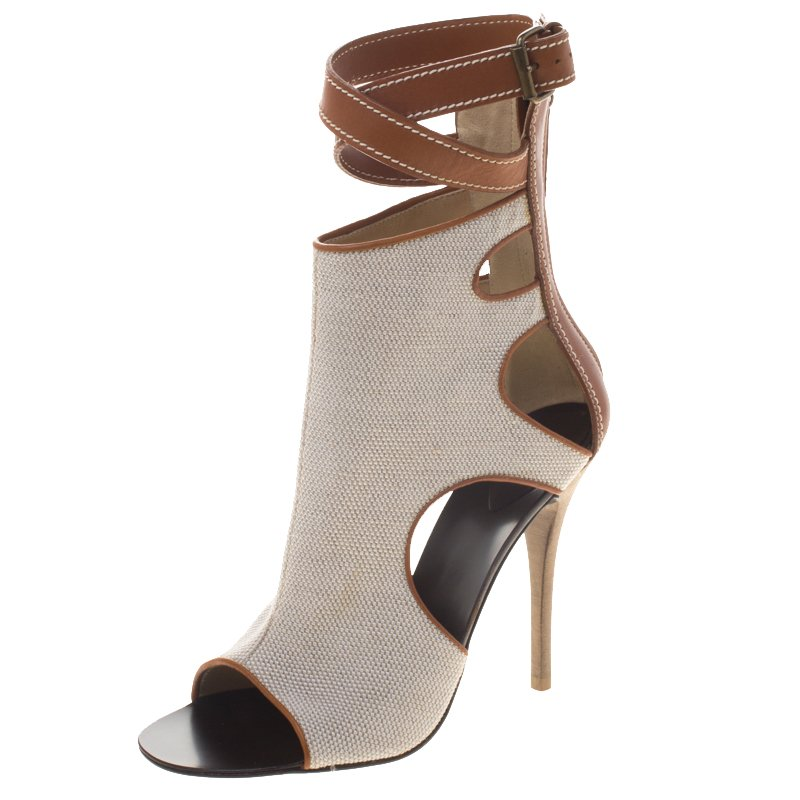 ec87aada8c82 Buy Giuseppe Zanotti Beige Canvas and Leather Ankle Wrap Open Toe ...