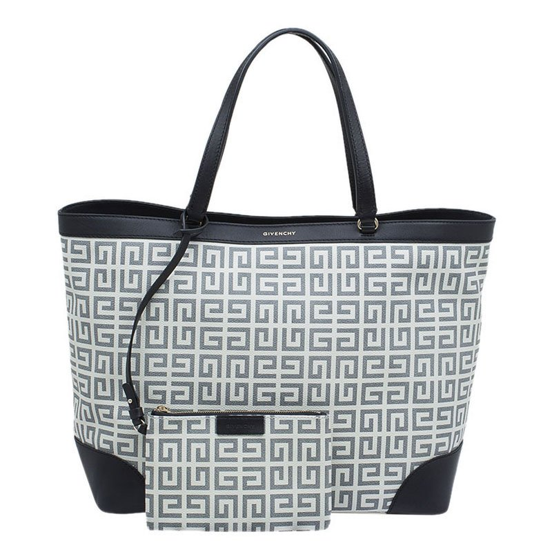 3c559e68d4 Buy Givenchy Black/Off White Logo Print Coated Canvas Antigona ...