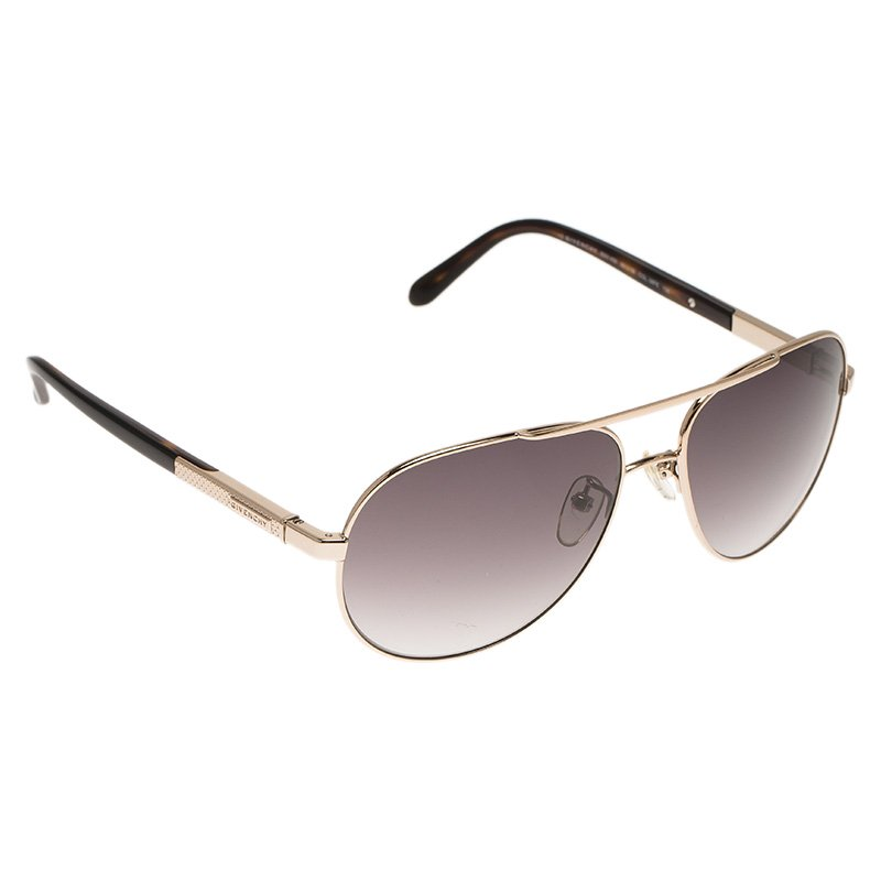 Givenchy Gold and Brown SGV456 Aviator Sunglasses