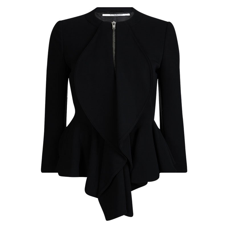 745e0ef47 Givenchy Black Knit Ruffle Detail Zip Front High Low Peplum Jacket M
