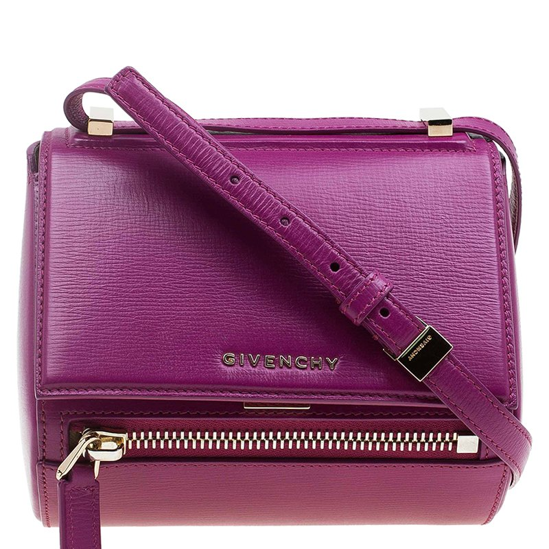 Givenchy Magenta Leather Mini Pandora Box Crossbody Bag