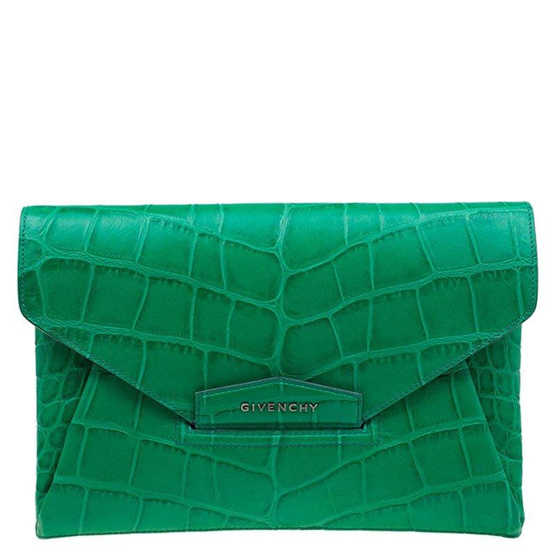 1261b60bd06d0 ... Givenchy Green Croc Embossed Leather Medium Antigona Envelope Clutch.  nextprev. prevnext