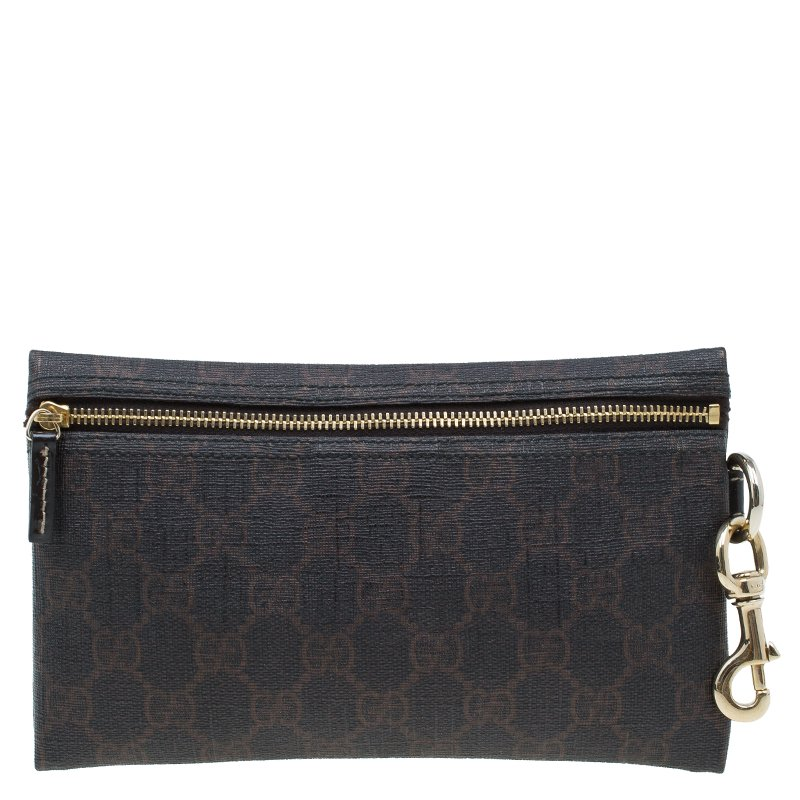 Gucci Dark Brown GG Coated Canvas Pouch