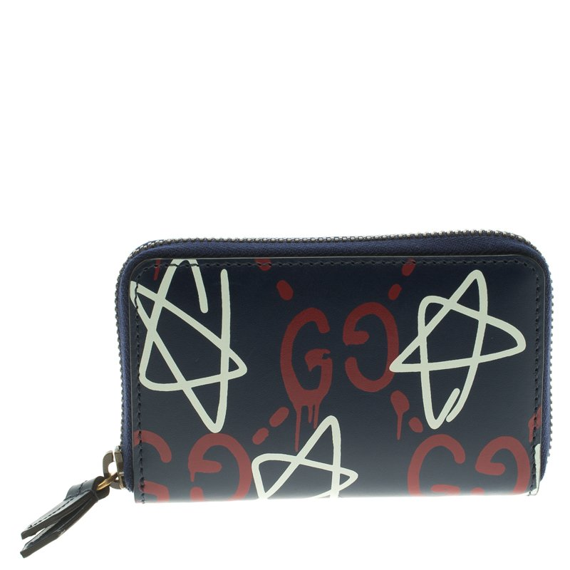 ... Gucci Black Ghost Print Leather Zip Around Card Case. nextprev. prevnext bca8f43072d