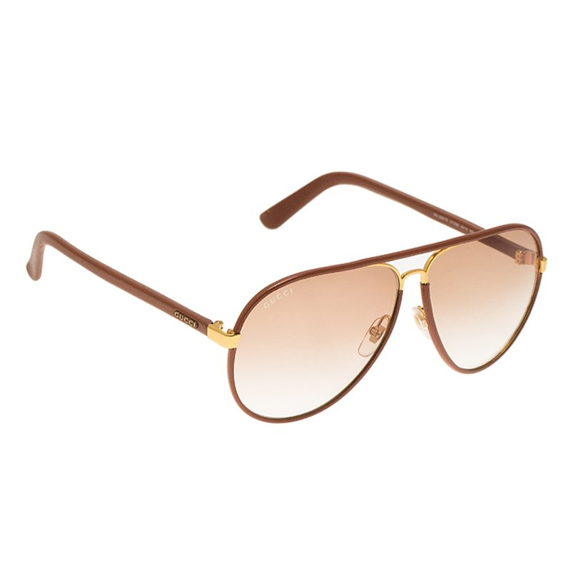 ff6304646d3 Buy Gucci Brown Leather GG 2887 S Aviator Sunglasses 53997 at best ...