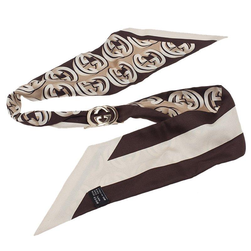 Gucci Brown Interlocking GG Logo Silk Bandeau with Removable Logo Clip