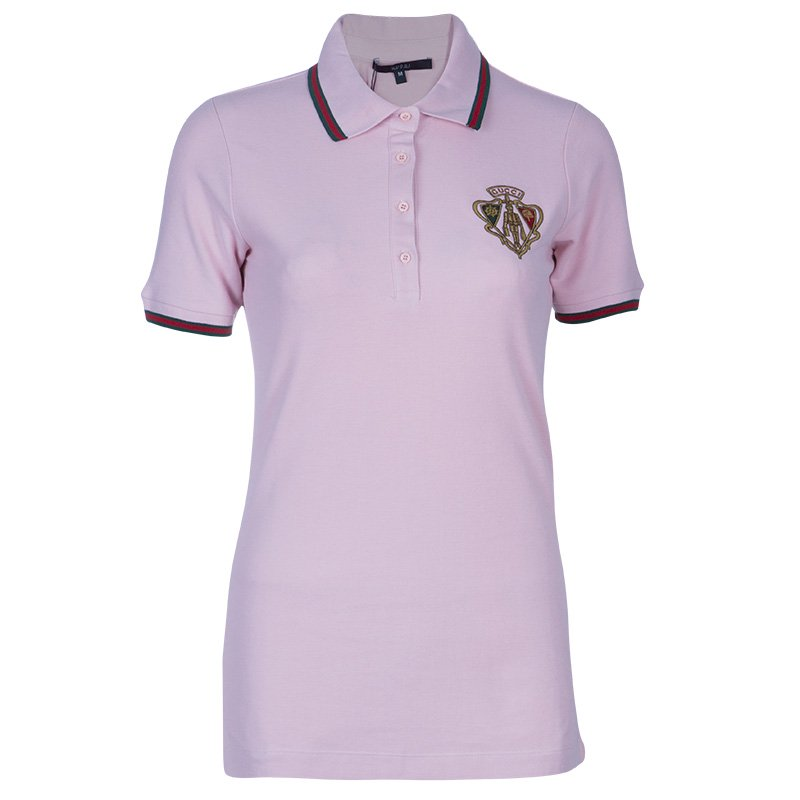 e5c68e8c3be Buy Gucci Baby Pink Crest Polo Shirt M 49696 at best price