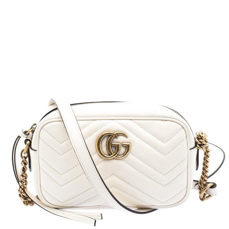 517d92ab8e5 ... Gucci White Matelassé Leather Mini GG Marmont Crossbody Bag. nextprev.  prevnext